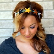 Image of the starlight- multi color star crown headband
