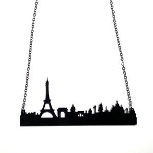 Image of paris, france skyline necklace