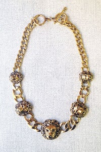 Image of lions heads chain necklace by Allen&Code