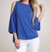 Image of M. Rena Drop Shoulder Split Sleeve Top in Victoria Blue