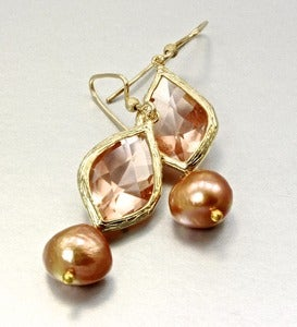 Image of Cubic Zirconia, Freshwater Pearl and 14K Gold-Filled Earrings