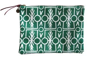 Image of Clutch- Green Leather with White Talisman Pattern
