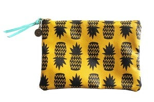 Image of Wallet Pouch- Yellow Leather with Black Pineapples