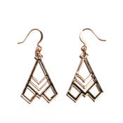 Image of geometric abstraction wing deco earrings [gold mirror]