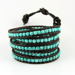 Image of  Turquoise Leather Wrap Bracelet. Five Time Wrap.