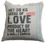 Image of Handmade cushion on Eco 100% Hemp  Love message