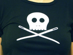 Image of Skully Sewing Needles T-Shirt