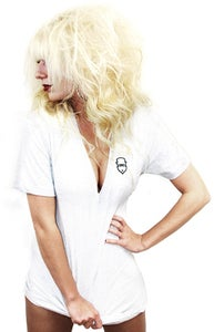 Image of Embroidered V-Neck (White) (Womens)