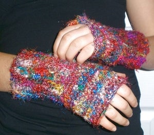 Recycled Sari Silk Fingerless Mitts