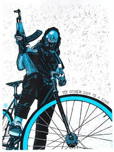 "Image of My Other Gun is a Bike - 18""x24"" Serigraph"