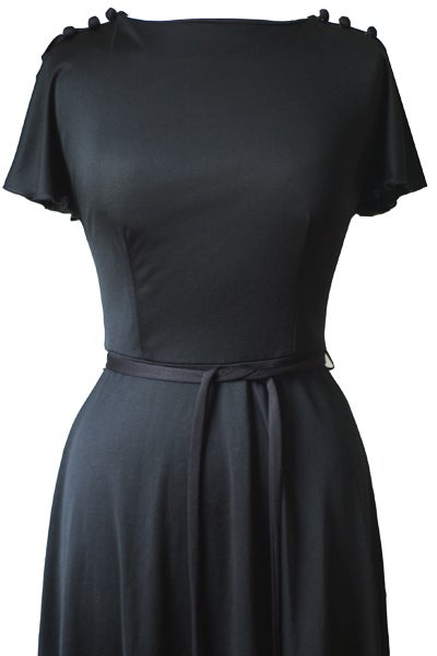 Image of Vintage 1980s Rock Chick Split Sleeve Black Dress