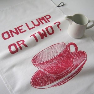 Image of One Lump or Two tea towel - cranberry