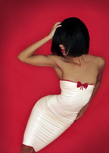 Image of Strapless knee length dress