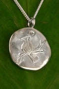 Image of Silver Medallion Necklace Bird on a Branch, Freedom