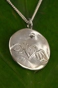 Image of Silver Medallion Necklace Winged Heart, Love