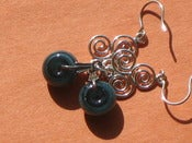 Image of 3 Spiral Blue Lampwork Earrings