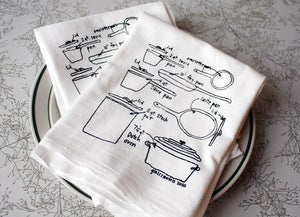 Image of Love of Cooking - Pots and Pans Diagram Towels