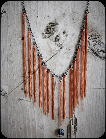 pretty please dear  hoakon/helga- fringe necklace :  necklace charm copper hoakonhelga