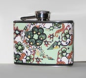 Image of Daydream Doodles - Green &amp; Coral - Stainless Steel Flask 4 oz
