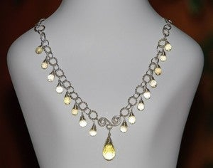 Image of Handmade Champagne & Lemon Quartz Briolettes Sterling Silver Wire Wrapped Necklace