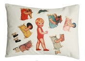 Image of Handmade cushion on organic cotton – Leo vintage paper doll