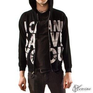 Image of I CAN'T SAVE YOU Black Hooded Zip Up Sweatshirt Unisex