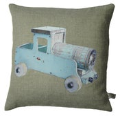 Image of Handmade cushion on natural linen and cotton – Blue Vintage Truck