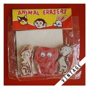 Image of VINTAGE ANIMAL ERASER SET