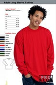 Image of PRO CLUB WHOLESALE ADULT LONG SLEEVE (HEAVY) T-SHIRT SIZES 2X &amp; 2X-Tall (per. Dozen)