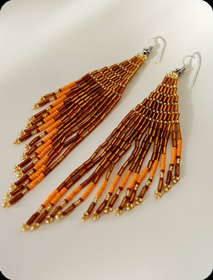 pretty please dear  gold fringe beaded earrings :  beaded sead bead tribal seed bead