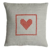 Image of Hand cross stitch on natural linen   Red Heart Design