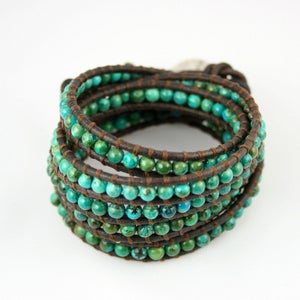 Image of Amazon. Five Time Turquoise Leather Wrap Bracelet.