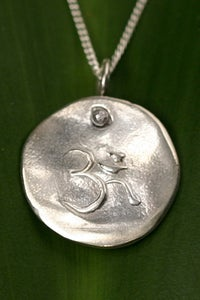 Image of Silver Medallion Necklace Om, Spiritual Enlightenment