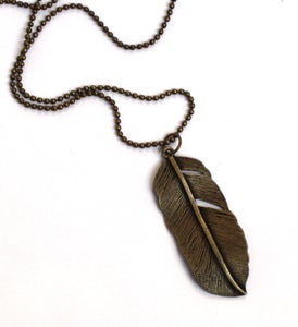 Image of Brass Feather Necklace