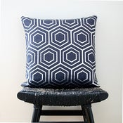 Image of ATOM Silver on Blue Linen Cushion, Pillow Cover 45 x 45 cm