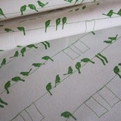 Image of Laundry Birds on 100% organic cotton - pesto