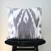 Image of GREY IKAT Linen and Silk Cushion Cover 45 x 45 cm
