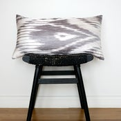 Image of GREY IKAT Linen and Silk Cushion Cover 63 x 34 cm