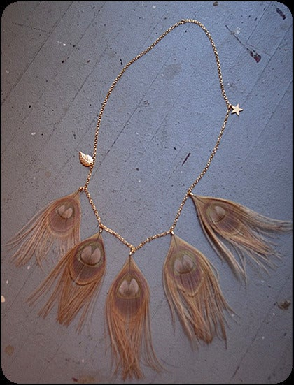 pretty please dear  misskk - gold peacock necklace :  star leaf charms feather