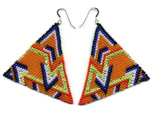 Image of HANDBEADED PYRAMID EARRINGS E9