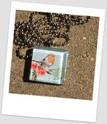 Image of Lovely Vintage Bird and Flowers Glass Tile Pendant