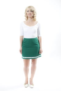 Image of 'Anna' A-Line mini skirt - Green with vintage daisy trim