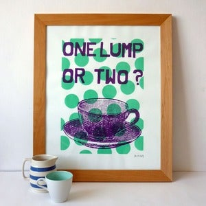 Image of One Lump or Two screenprint on paper -mint/mauve