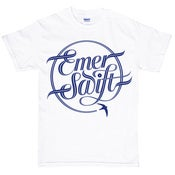 Image of Emer Swift t-shirt navy print on white ltd edition