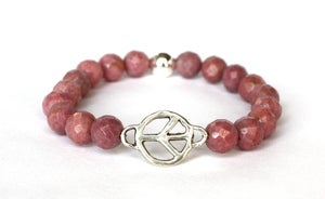 Image of Silver Peace Link & Rhodonite Bead Bracelet
