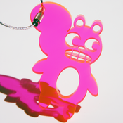 Image of Weather sKwirl™ Pink Acrylic Key Ring/Luggage Tag