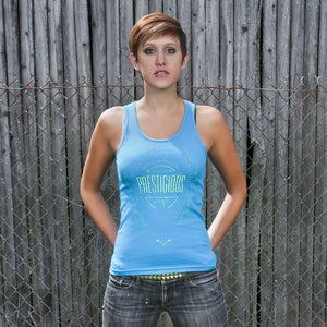 Image of Women's badge tank baby blue - 100% cotton American Apparel tank