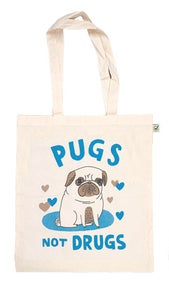Image of Gemma Correll Pugs Not Drugs Tote - White and Blue