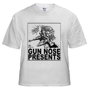Image of Gun Nose Presents; Black on White Shirt