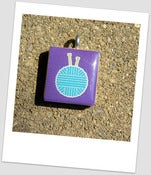 Image of Crafty Knitting Needles with Yarn Scrabble Tile Pendant